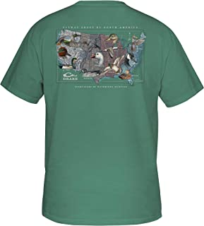 Drake Men's Flyway Species Map T-Shirt Short Sleeve Cotton Denim Heather Large