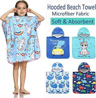 SpunKo Soft Microfiber Hooded Beach Towels for Kids 1-6 Years Old Unicorn Sand-Free Absorbent Swimsuit Coverup Bathrobe Gift for Girls Boys
