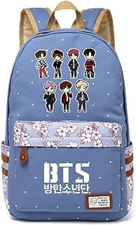 JUSTGOGO Korean Casual Backpack Daypack Laptop Bag College Bag Book Bag School Bag (Light Blue 3)