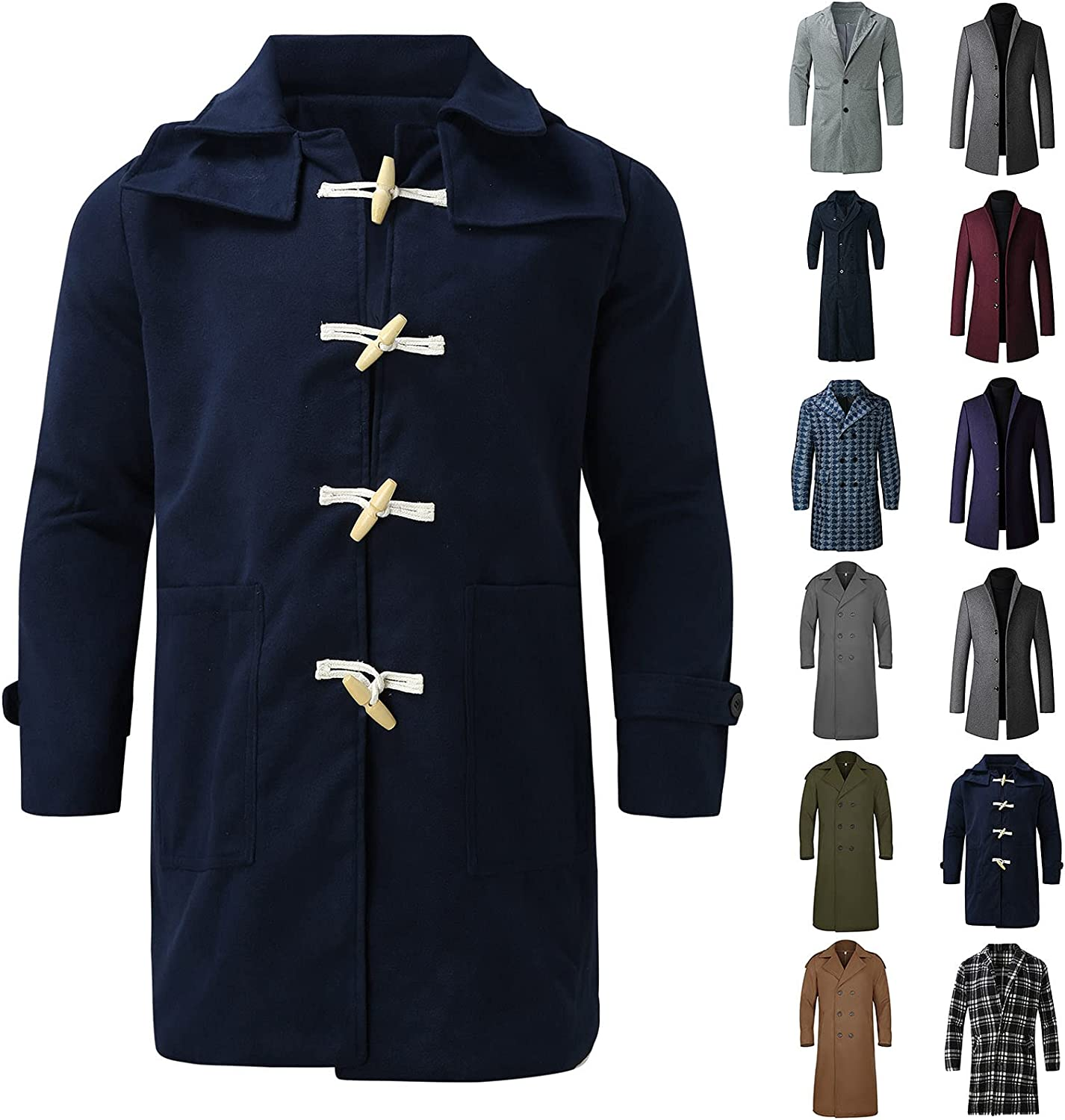 PAOGE Men's Overcoats Winter Solid Color Long Sleeved Turn-Down Collar Trench Coats Plus Size