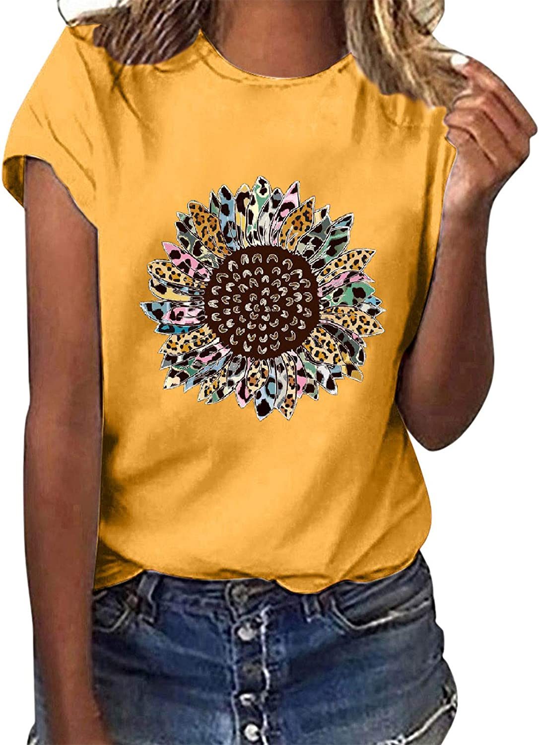 Forwelly Short Sleeve T Shirt for Women Summer Casual Tee Novelty Sunflower Graphic O Neck Tunic Top Blouse