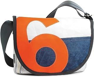 360° Grad Umhängetasche Damen, Tasche aus Segeltuch und Tweed Perle Satchel mit Zahl Neon Orange wetterfest, maritim