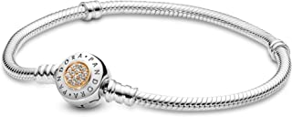 PANDORA Jewlery - Moments Logo Charm Bracelet for Women in Two Tone Sterling Silver and 14K Yellow Gold with Clear Cubic Zirconia