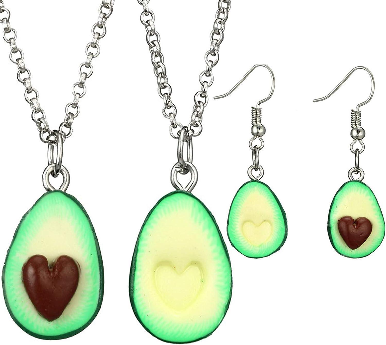 caiyao 4 Pcs Cute Avocado Pendant Heart Shape Nucleus Fruit Funny Jewelry Necklace and Drop Dangle Earrings Set Creative Friendship Jewelry for Women Girls