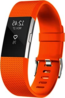 Fitbit Charge 2 Bands, orange Silicone Bands with Metal Buckle / Replacement Sport Strap for Fitbit Charge 2 small size