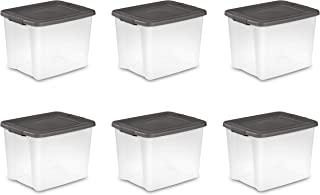 Sterilite 19373V06 50 Quart / 47 Liter Shelf Tote, Clear Base with Flat Gray Lid and Latches, 6-Pack