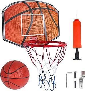 Canasta Baloncesto Infantil con Red, Bola y Inflador, Juegos de Aire Libre y de Interior para Niños y Niñas