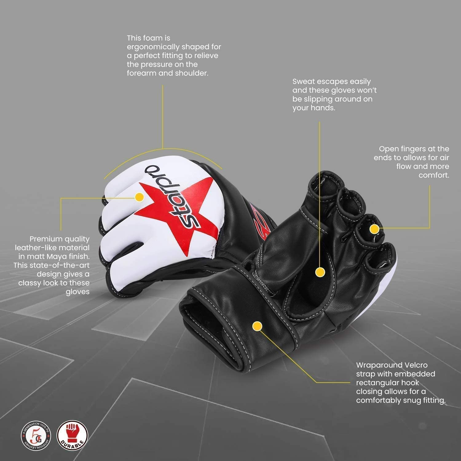 Men /& Women White /& Black for Sparring and Grappling in Combat Training Muay Thai Martial Arts MMA Kickboxing Krav MAGA Fitness and Exercise PU Leather Starpro /'Star/' Grappling Gloves