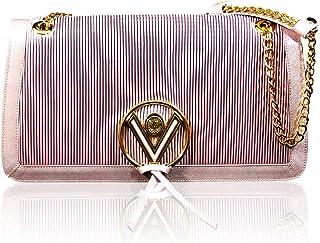 Valentino Orlandi Women's Medium Handbag Italian Designer Purse Pearl Rose Genuine Leather Top Handle Satchel Crossbody Bag in Plisse Pleated Design with Chainlink Strap