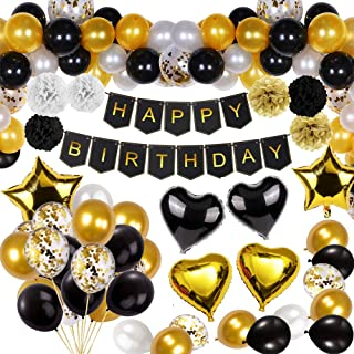 Black and Gold Party Decorations Happy Birthday Confetti Balloons with Banner,Star Heart Foil Balloons,Paper Pompoms for18th 20th 30th 40th 50th 60th 70th Birthday Decorat (Black and Gold)