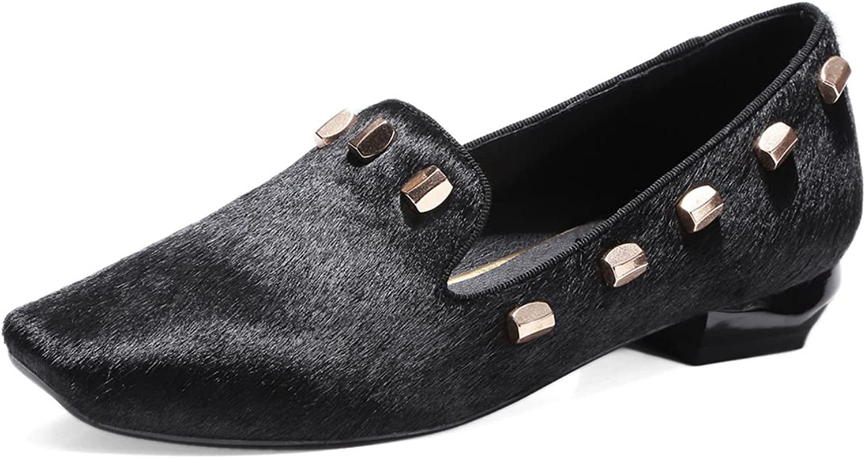 VIMISAOI Women's Genuine Leather Rhinestone&Rivet Decoration leopard Block Low Heel Loafer Flats shoes