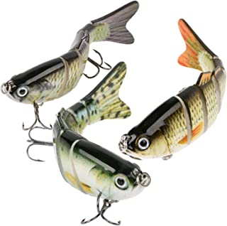 Scotamalone Fishing Lures Bass Trout Lures 3 Pack 6 Segment Tackle 6# High Carbon Steel Anchor Hook Lifelike Multi Jointed...