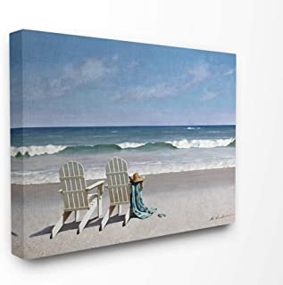 The Stupell Home Decor Two White Adirondack Chairs on The Beach Stretched Canvas Wall Art, 24 x 30, Multi-Color
