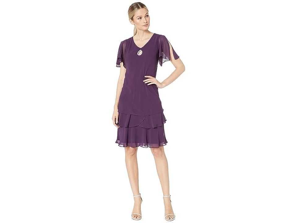 MARINA Tiered Chiffon Flutter Sleeve Dress (Plum) Women