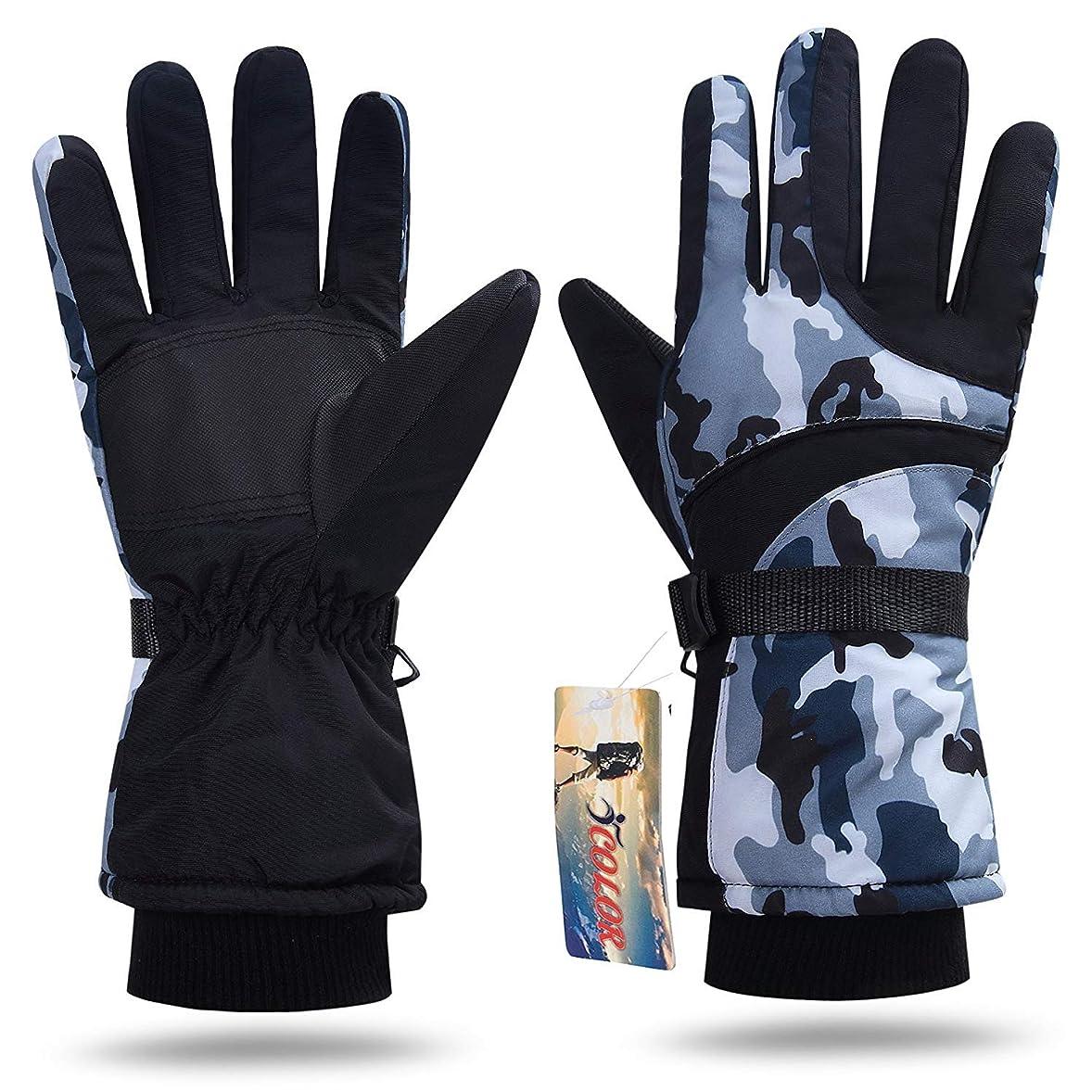 ローマ人サイレン誤解するiColor スキー手袋/グローブ 360 ヒートロック 防寒 防水 防風 あったか厚手 アウトドア/スキー/登山対応 フリーサイズ 男女兼用 2本セット