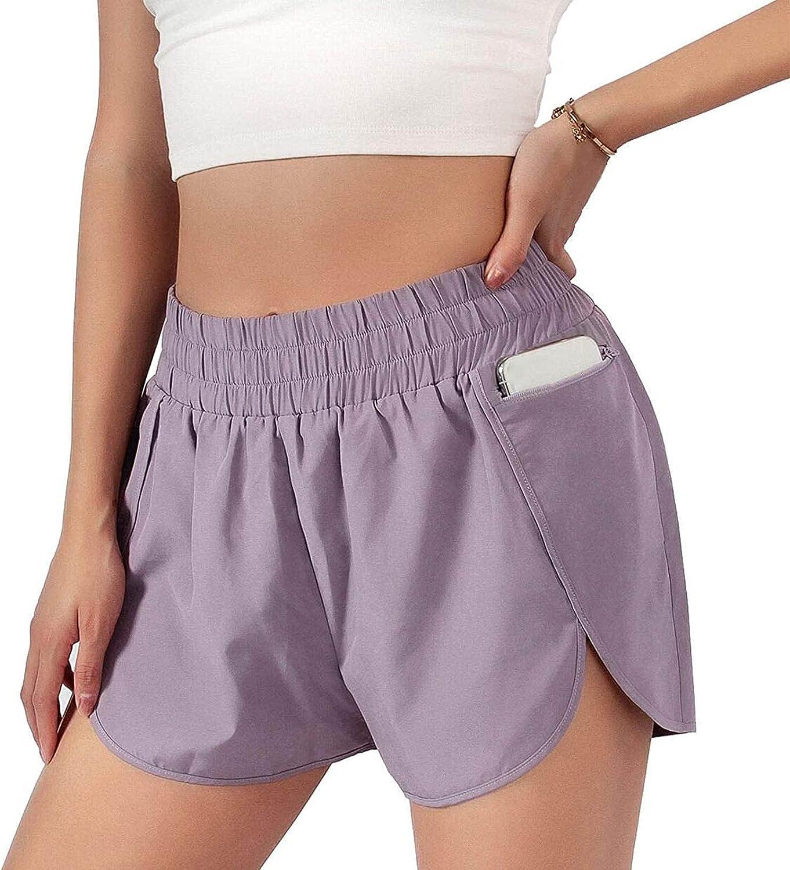 CieKen Womens Summer Beach Quick-Dry Running Shorts Sport Layer Elastic Waist Active Workout Shorts with Pockets