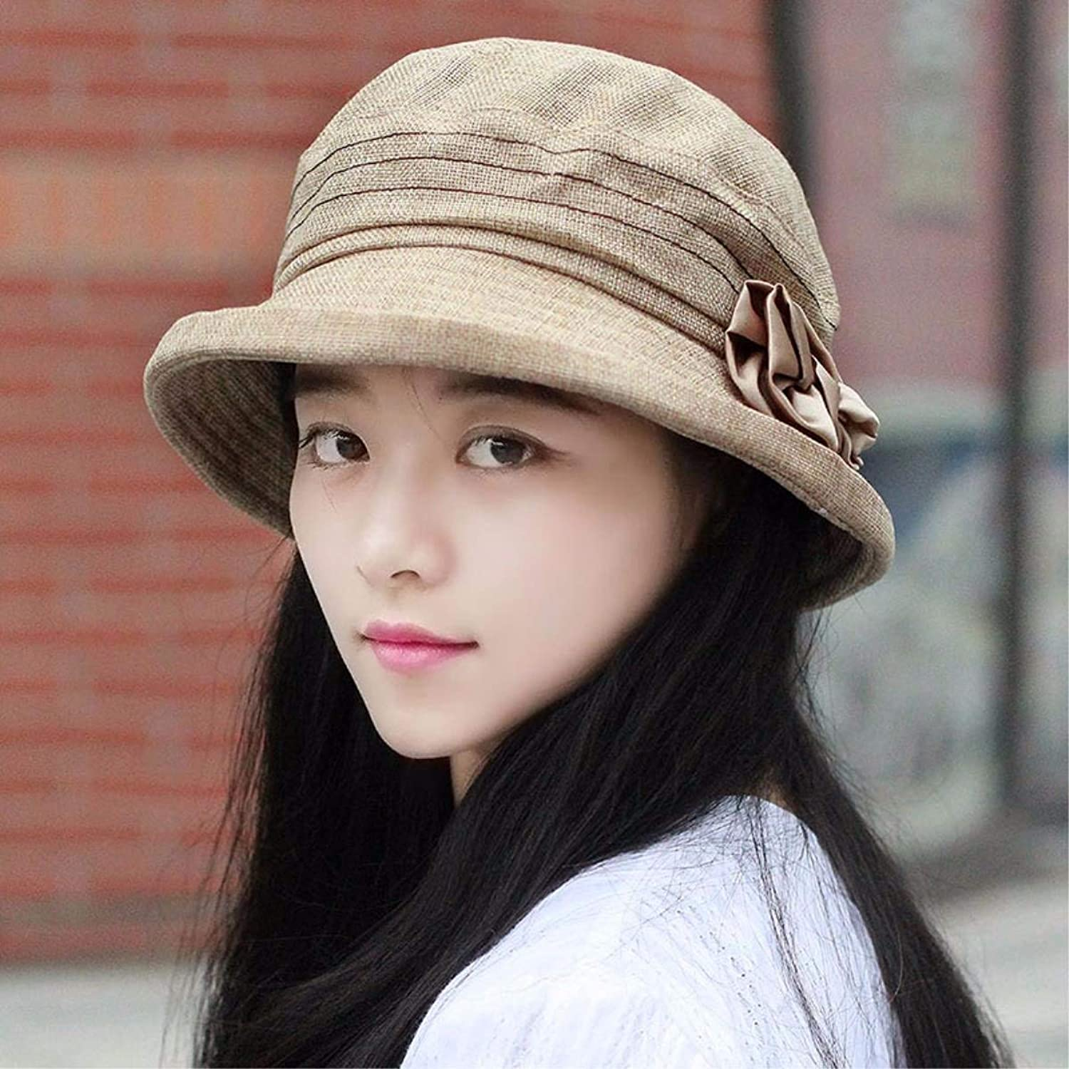 Beach Hat The Spring and Summer Thin Section Breathable lace Scarf hat Pregnant Women Cap Water Drill Set Head air Conditioning Cap dust Cap Storehouse Summer Sun Hat (color   Brown)
