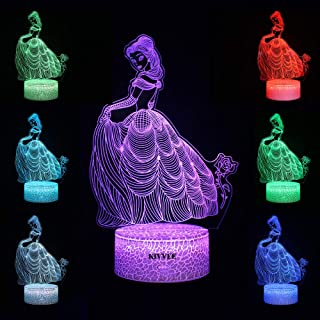 Bride Wedding Dress Toys Visual 3D Night Light 2D Table Lamp Colorful 7 Color Touch W/USB Cable Birthday Christmas Gift for Boys Girls Kids Gift Adult Acrylic Desk Decorative Household Accessories
