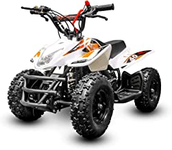 Titan 40CC 4-Stroke kids four wheeler quads for kids - Runs to up 24mph and supports up to 140 lbs - atvs for kids gas powered atv for kids with Throttle Regulator and Kill Switch (White & Orange)