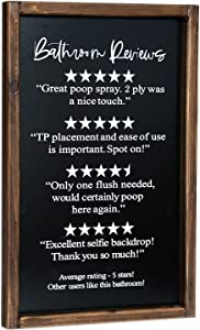 Lavender Inspired Bathroom Reviews Funny Bathroom Rating Signs, Would Poop Here Again, Half Bath Decor, Farmhouse Style Bathroom Wall Decor, Guests Bathroom Decor, Wooden Framed Bath Sign, Housewarming Gifts