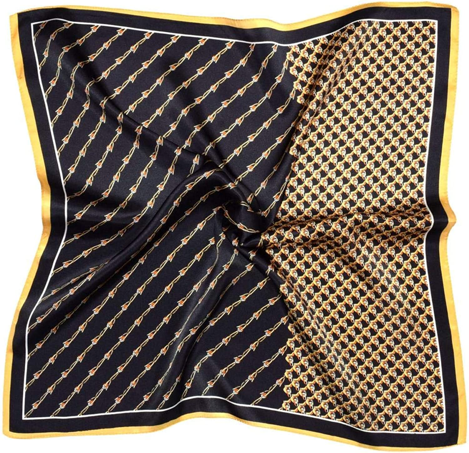 Black Yellow Chain Printed Thick Small Silk Square Scarf