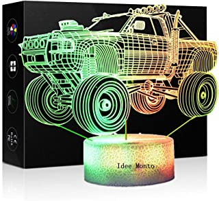 3D Optical Illusion Night Light - 7 LED Color Changing Lamp - Cool Soft Light Safe for Kids - Home Décor Xmas Holiday Birthday Gifts - Car (Monster Jam Car)
