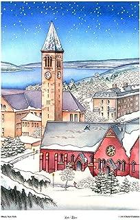 Cornell University Art, Ithaca NY Cayuga Lake McGraw Tower Winter Snow Scene Watercolor Print 12 x18
