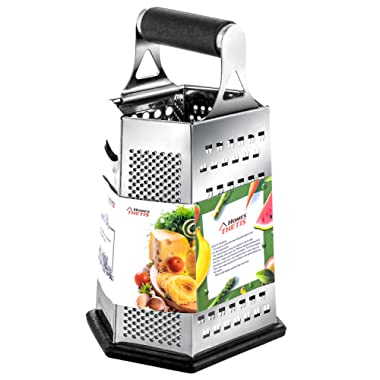 Kitchen Box Grater, Stainless Steel Cheese Grater - 6 Sides Stand Grater with Rubber Handle & Base for Parmesan Cheese, Ginger, Vegetables by THETIS Home