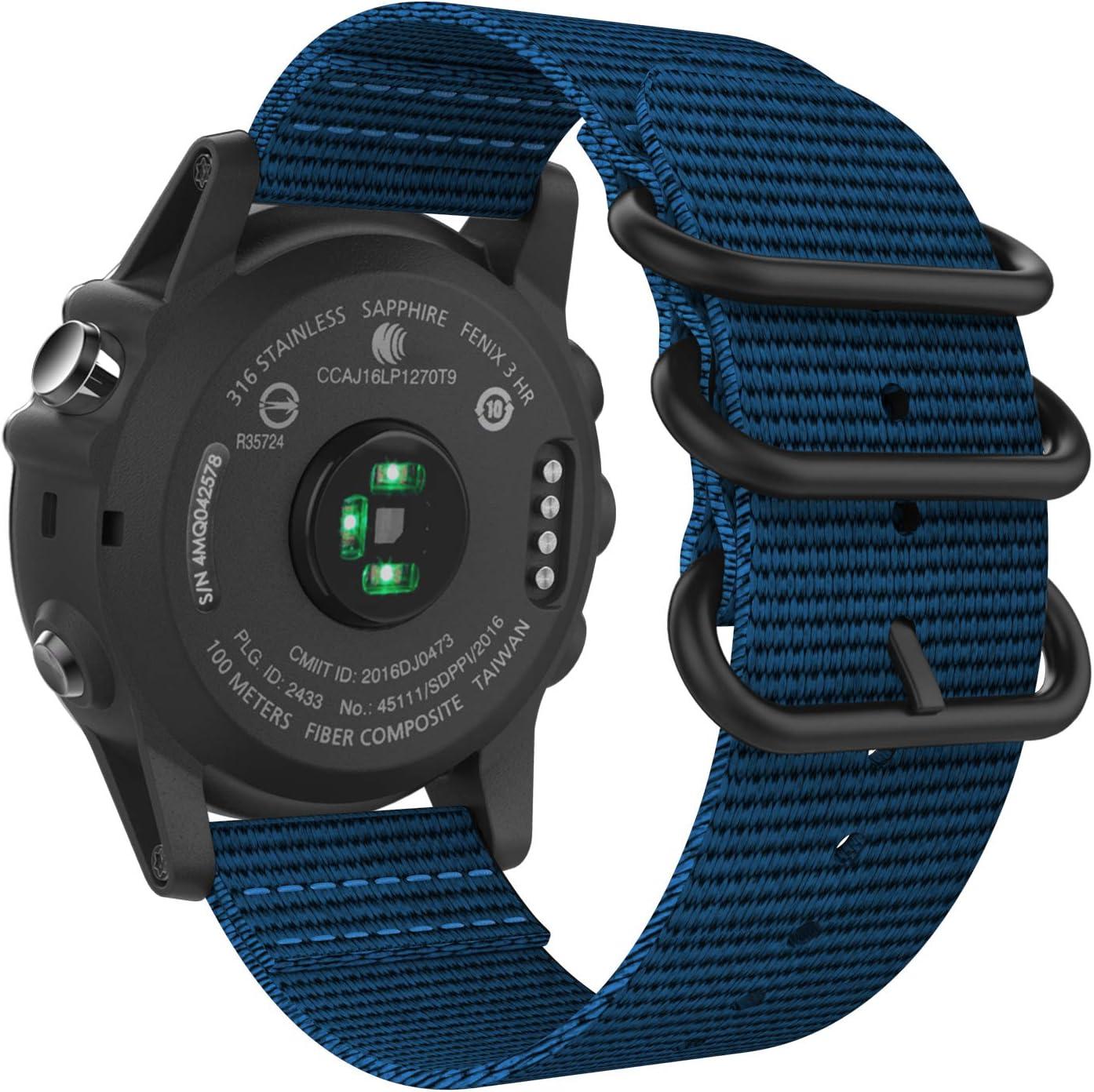 MoKo Band Compatible with Garmin Fenix 6X/Fenix 6X Pro/Fenix 3/Fenix 3 HR/Fenix 5X/5X Plus/D2 Delta PX/Descent mk1, Fine Woven Nylon Adjustable Replacement Strap with Double Buckle Ring - Royal Blue