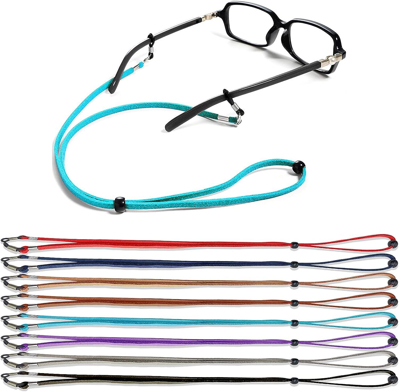 Glasses Strap - Eyeglasses Holder Strap, 8 Pcs Premium Leather Sunglasses Strap for Women Kids Sportsmen, Adjustable Eyeglass Chain