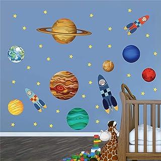 decalmile Stickers Muraux Planètes dans l'espace Autocollant Mural Solaire Système Chouette Fusée Décoration Murale Chambr...