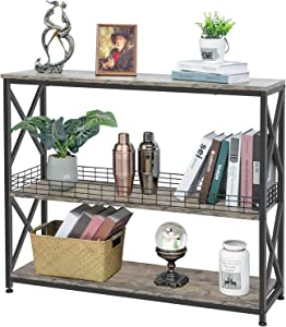 3 Tier Console Sofa Entryway Table with Wire Storage Basket by X-cosrack,Industrial Narrow ConsoleTable for Living Room, Hallway, Foyer, Corridor, Office
