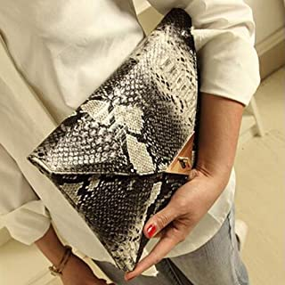 HYLong Womens Fashion Retro Snake Skin Envelope Bag Clutch Purse Evening Bag (Size: 2