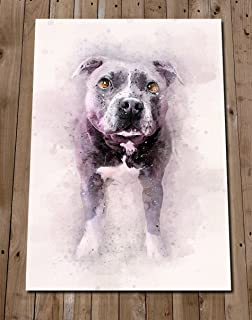 STAFFORDSHIRE BULL TERRIER Art Print - Pit Bull Colorful Watercolour Painting - Staffy Poster