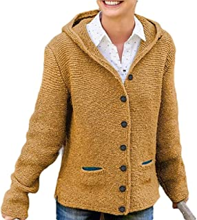 Womens Knit Long Sleeve Hoodie Cable Cardigans Button Sweater Coat