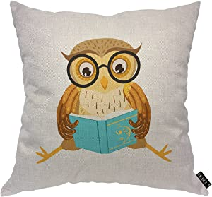 EKOBLA Lovely Owl Throw Pillow Cover Reading The Book Forest Bird Glasses Funny Creative Artwork Cozy Pillow Covers for Living Room Indoor Home Decor Cotton Linen 18x18 Inch