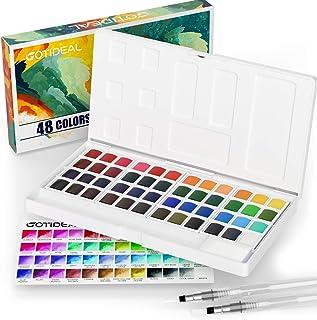 ست رنگ آمیزی آبرنگ GOTIDEAL ، 48 رنگ زنده در جعبه جیبی ، با 2 قلم مو قلم مو مخلوط کننده آب قابل شارژ ، رنگدانه غنی مناسب برای هنرمندان ، دانشجویان ، کودکان ، مبتدیان