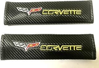 Auggies Corvette Flag Carbon Fiber Embroidery Car Seat Belt Covers Leather Shoulder Pads for Chevy Corvette