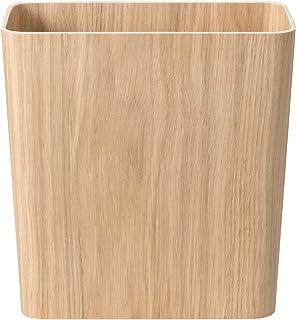 MUJI Oakwood Dust Bin with Wire Frame Square, 28.5 cm Width x 15.5 cm Depth x 30.5 cm Height Bois de Chêne Taille : M
