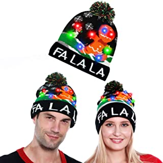 Camlinbo LED Light Up Christmas Hat Knitted Beanie Cap with Gingerbread Man Ugly Sweater Holiday Party Christmas Costume