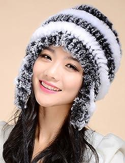 蒂芙莎 獭兔毛皮草帽子女护耳帽毛线帽 保暖冬天帽子休闲帽