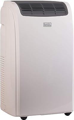 Black + Decker 8000 BTU Portable Air Conditioner Unit, Remote, LED Display, Window Vent Kit, 4 Caster Wheels, White (Renewed)