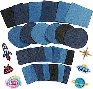be59a5bcc8 Anpro 30pcs Patchs,24PCS Denim Patch Bleu Ovale en Tissu 6PCS Patch  Thermocollants, Patchs