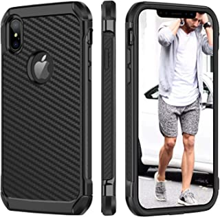 BENTOBEN iPhone Xs Max Case, iPhone Xs Max Classic Carbon Fiber Full Body Protective Soft Bumper Shatterproof Rugged Faux Leather Responsive Stylish Man Phone Cover for iPhone Xs Max 6.5 Inch, Black