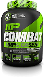 MusclePharm Combat 100% Casein Supplement, Casein Protein Powder, Muscle Supplement, 100% Micellar Casein, Rebuilds Muscle, 28 Grams of Slow-Digesting Protein, Vanilla, 4-Pounds, 52 Servings