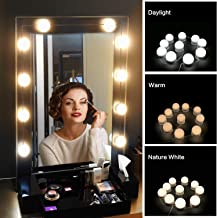 Mirror Lights LED Vanity Mirror String Lights Hollywood Style 3 Modes and 3000-7000K Color Temperature User-Friendly Design for Home Bedroom Bathroom Dressing Room (USB Powered, 10 Bulbs)