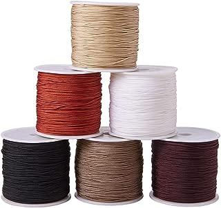 PandaHall Elite 6 Colors 0.8mm Nylon Beading String Knotting Cord, Chinese Knotting Cord Nylon Shamballa Macrame Thread Beading Cord, 6 x 100yards Spool