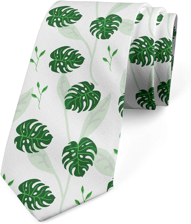 Ambesonne Men's Tie, Jungle Foliage Shadowy, Necktie, 3.7