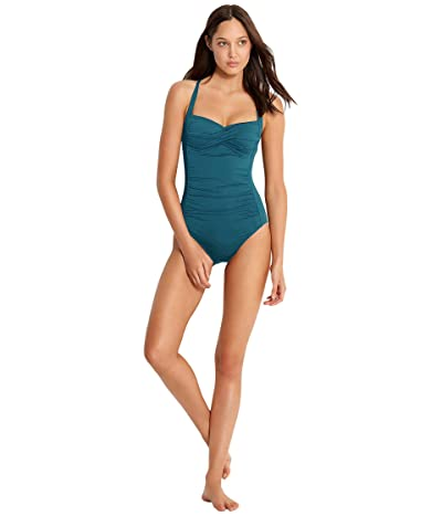 Seafolly Twist Bandeau Maillot (Peacock Blue) Women