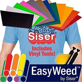 "Siser Heat-Transfer Vinyl Bundle Including Detailer Squeegee and 2X Black Felt Decals (12"" x 7.5"" 12 Color Pack)"